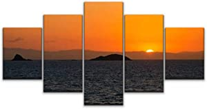 5 panels Wall Art Print On Canvas sun sets over the coral sea and queensland coast green turtles and Modern Abstract Picture Poster for Home Decor Stretched and Framed Ready to Hang (60''Wx32''H)