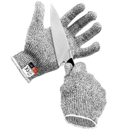 Peeling Potatoes - Cut Resistant Glove High Performance Food Grade Level 5 Protection for Kitchen prep Hand Safety Cutting Meat Oyster Shucking Mandoline Slicer Fish Processing Potato Peeling and Wood Carving - LARGE