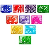 4 Pack Mexican Fiesta Decoration, Papel Picado Banner, Papel Picado Tissue Paper Garland,