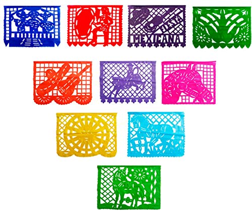 4 Pack Mexican Garland Decorations, Papel Picado Banner, Papel Picado Tissue Paper Garland, Mexican Theme, Charreria Mexican Paper Flags Paper Picado Mexican Charros, Coco Movie Banner for $<!--$16.99-->