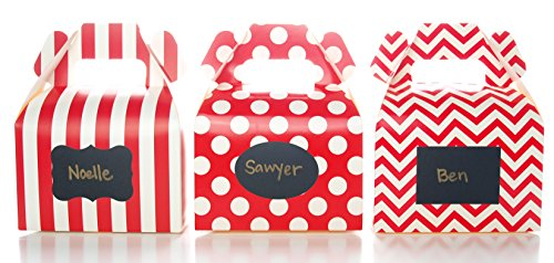 Red Christmas Candy Boxes & Black Label Chalkboard Vinyl Stickers (36 Pack) - Red Wedding Favors, Make Personalized Stickers for Party Favors, Small Gift Boxes