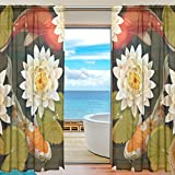 Japanese Koi Fish Window Sheer Curtain Panels, Door Window Gauze Curtains for Living Room Bedroom Kid Office Home Decor 55×78 inch Two Panels Set Review