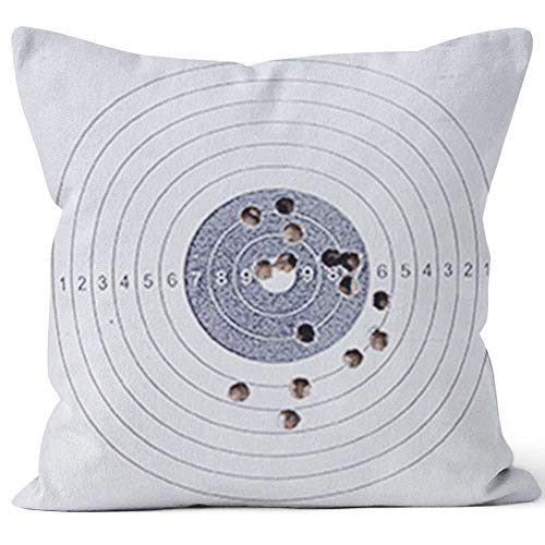 - Nine City Sport Shooting Circle Target Accuracy Bullet Hole Burlap Pillow Home Decor Throw Pillow Cover Cotton Linen Cushion,HD Printing for Couch Sofa Bedroom Livingroom Kitchen Car,16