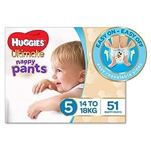 Huggies Ultimate Nappy Pants, Boys, Size 5 Walker (14-18kg), 51 Count