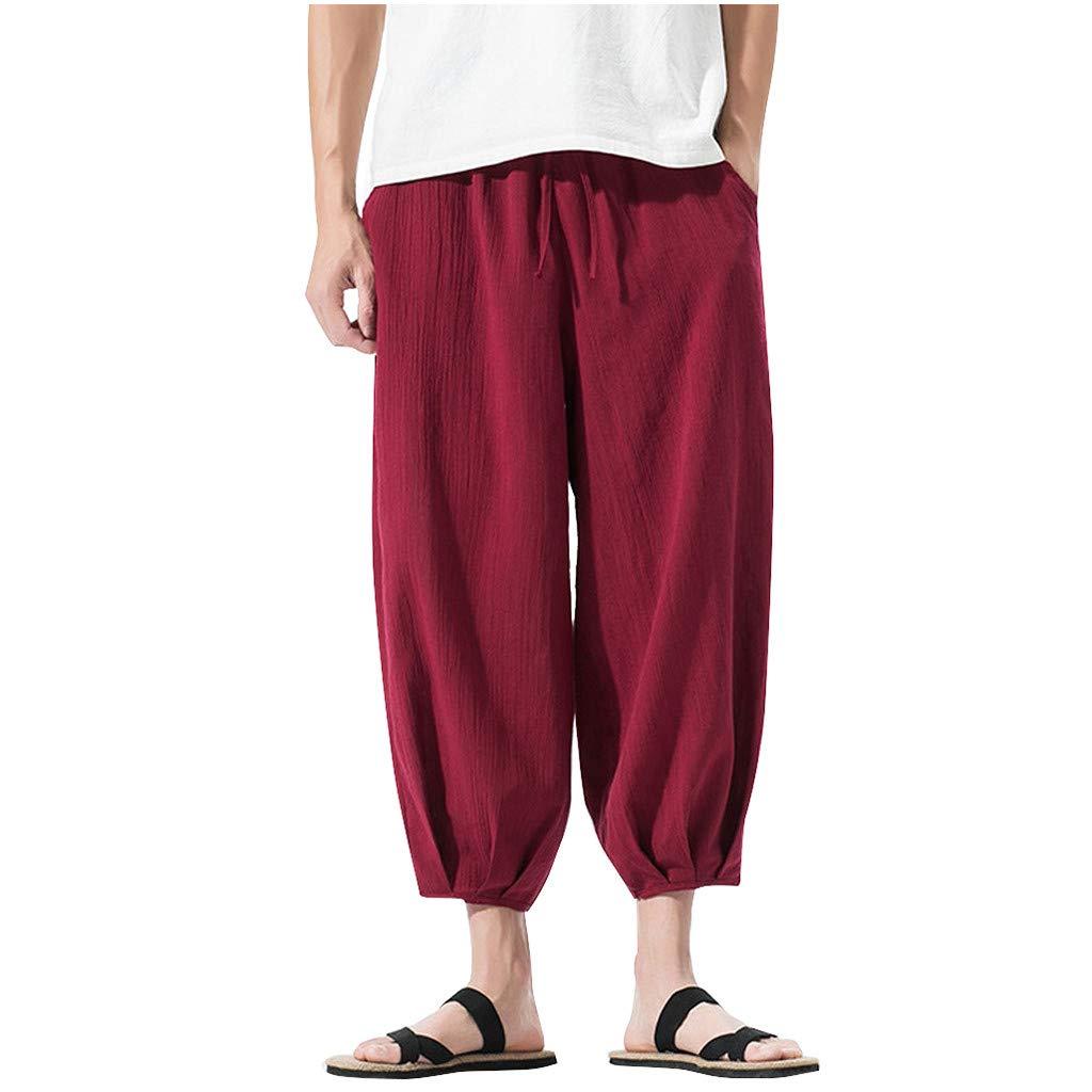 Allywit M-5XL Summer Men Casual Harem Pants Jogger Stripe Fitness Trousers Capri Linen Loose Pants Red