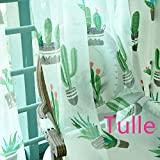 ZZC Sheer Window Curtain Classic Cactus W39 L63 Inch Rod Pocket Process Draperies Window Treatment Voile for Living Room Kid's Room One Pair(Two Panels)