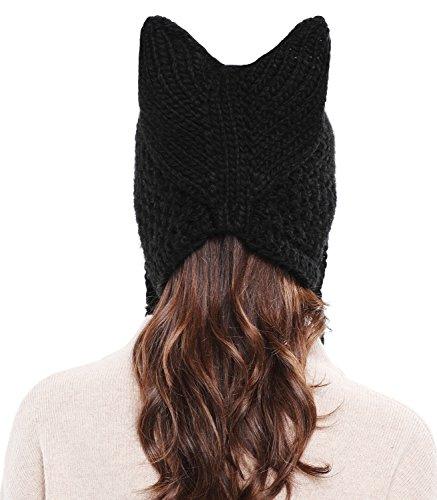 34ef2fc27 Bellady Winter Cute Cat Ears Knit Hat Ear Flap Crochet Beanie Hat, Black
