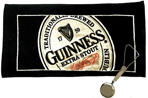 Guinness Stout Beer Black & Tan Bar Towel With a Guinness Engraved Pouring Spoon