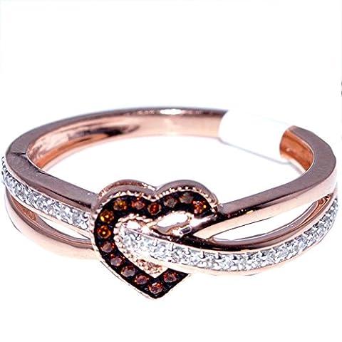 Heart Ring Rose Gold Cognac and White diamonds 0.15ct Diamonds 10K Fashion Promise Ring(i2/i3, I/j) (Chocolate Diamond Rose Gold Band)