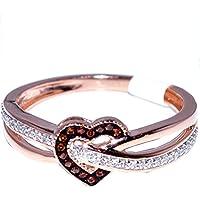 Midwest Jewellery Heart Ring Rose Gold Cognac and White Diamonds 0.15ct Diamonds 10K Fashion Promise Ring(i2/i3, I/j)