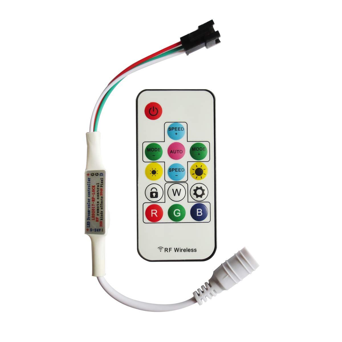 Tesfish Controlador remoto LED 5V-24V 366 clases de cambios RGB llev/ó el regulador para la luz de tira de WS2811 WS2812 WS2812B LED