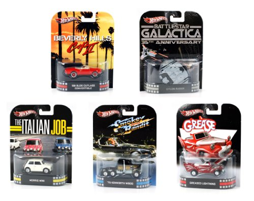 Set of 5 : Hot Wheels Retro Entertainment Series G 1:64 Scale