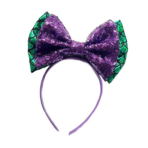 BUYITNOW Mermaid Sequins Big Bow Headband Bling Fish Scales Bowknot Hairhoop for Women Girls