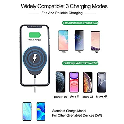 Wireless Car Charger Phone Mount, 10W Qi Fast Charging Car Phone Holder + QC 3.0 Adapter for Dashboard Air Vent/Home Compatible with iPhone 11 Pro Max Xs XR X 8 8+, Samsung S10 S9 S8 S7 Edge