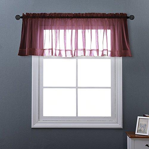 NICETOWN Sheer Voile Tier Valance - Elegant Rod Pocket Sheer Voile Panel Tier / Valance Window Curtain (One Panel, W60 by L20 inch, Burgundy / - Burgundy Purple