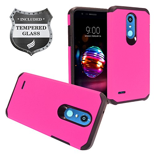 LG K30 LM-X410, Phoenix Plus X410AS, Harmony 2, Premier Pro LTE L413DL - Rubberized Hybrid Hard Case + Tempered Glass Screen Protector - AH2 Hot Pink