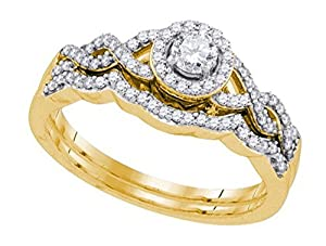 0.42 cttw 10k Yellow Gold Round Cut Diamond Halo Engagement Twist Bridal Set Wedding Rings