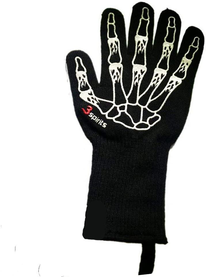 Windwinevine Creative Skeleton Pattern Oven Mitts Gloves BBQ Grilling Cooking Gloves Extreme Heat Resistant Gloves Extra Forearm Protection