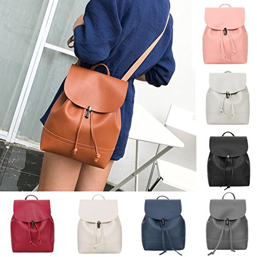 School AmyDong Pure Bag Leather Bag Color Gray Satchel Vintage Shoulder Women Trave Backpack frpf6q