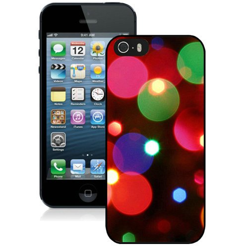 Coque,Fashion Coque iphone 5S Christmas Bokeh Lights Red Green Blue Noir Screen Cover Case Cover Fashion and Hot Sale Design
