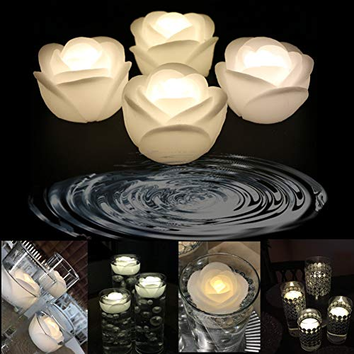 LACGO 3'' Wedding Novelty Candles Real Wax Flameless Floating Flicker LED Candle, LED Water Activated Flower Shaped Candle, for Home, Party and Festival Decoration(Rose, Warm White, Pack of 4)