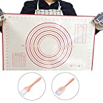 """Silicone Baking Mats Large 23.62"""" x 15.74"""", Non Skid Pastry-Mat with Measurements 9 Sticks very nicely to counter top or table. Does not move as you roll out the dough. Materials are stain-proof and stick-resistant: made of food-grade silcone with glass weave, no chemical odor. No need to guess on size anymore! Measurements are included for easy preparation."""