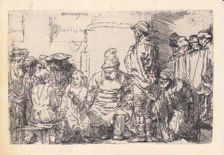 Unused Postcard Dutch Artist Rembrandt Harmensz van Ryn Etching Christ Seated Disputing with the ()