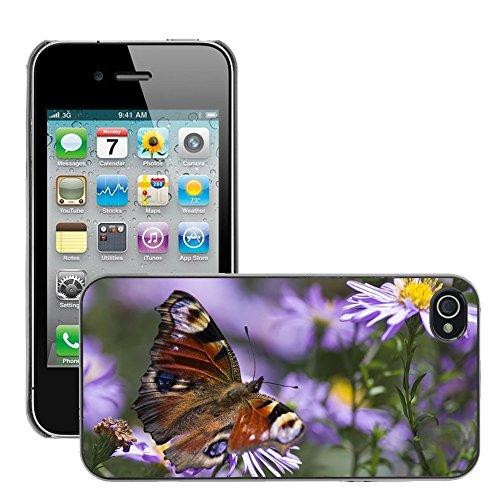 Bild Hart Handy Schwarz Schutz Case Cover Schale Etui // M00133650 Peacock Butterfly Butterfly // Apple iPhone 4 4S 4G