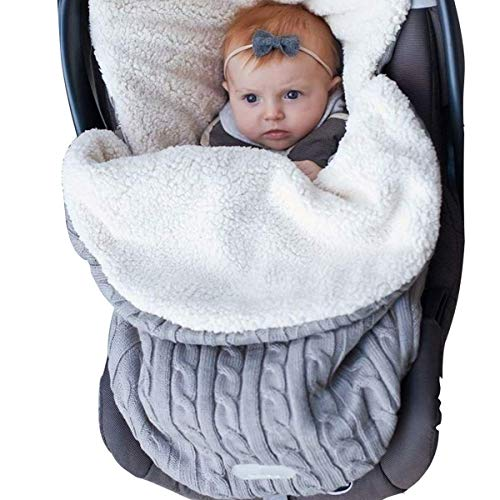 CLOMAY Newborn Baby Swaddle Blanket, Soft Thick Baby Kids Toddler Knit Warm Fleece Blanket Swaddle Sleeping Wrap Bag Sack Stroller Unisex Baby Sleep Bag for 0-12 Month Baby Boys Girls (Toddler Swaddle Blanket)
