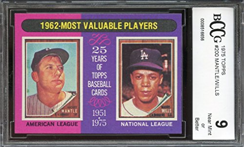 1975 topps #200 MICKEY MANTLE/MAURY WILLS 1962 mvp (CENTERED) BGS BCCG 9 Graded Card