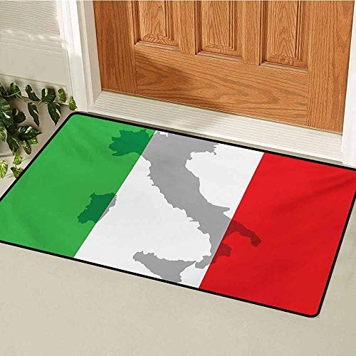 Chart Making Words Mat - Italian Flag Inlet Outdoor Door mat Map View of Italy Land Chart National Country Europe Ancient Culture Catch dust Snow and mud W19.7 x L31.5 Inch Grey Red Fern Green