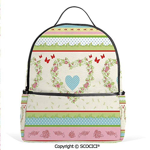Lightweight Chic Bookbag Country Style Roses and Borders Butterflies Ants Heart Shapes Polka Dots Decorative,Multicolor,Satchel Travel Bag Daypack