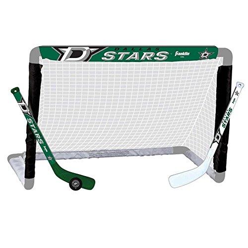 Franklin Sports Dallas Stars Mini Hockey Knee Hockey Goal, Ball & 2 Stick Combo Set - 28