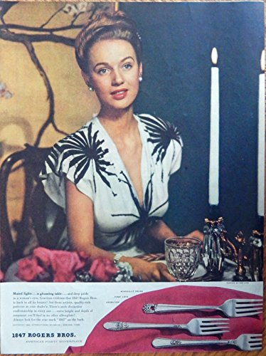 lverplate, Rare 40's print ad. Color Illustration. (beautiful woman) original 1946 Ladies Home Journal magazine art ()