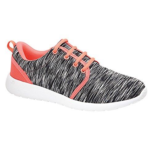 Dek - Zapatillas deportivas ligeras con cordones modelo Swirl para mujer negro/coral