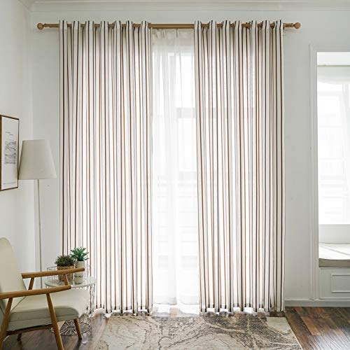 Norbi 1 pcs Nordic Style Home Decor Window Curtain Modern Voile Tulle Room Sheer Stripes Scarf Valances (Stripe Scarf Valance)