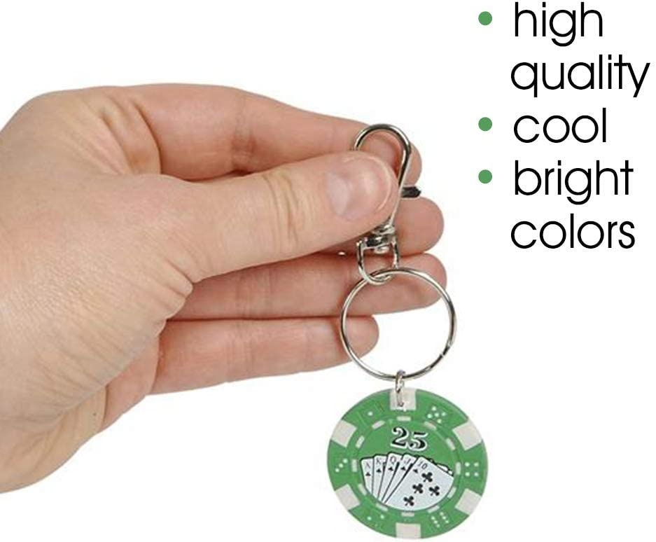 ArtCreativity Poker Chip Keychains for Kids Cool Goodie Bag Fillers Fun Carabiner Clip for Backpack Themed Party Favors Luggage Purse Small Prize for Boys and Girls Pack of 12