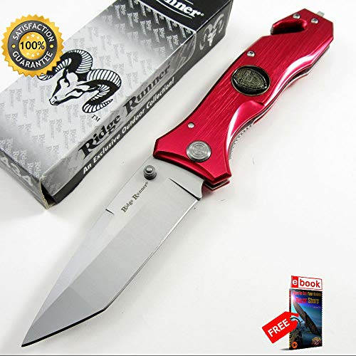 7 3/8'' Red Rescue Folding Sharp KNIFE with Cutter & Punch Combat Tactical Knife + eBOOK by Moon Knives