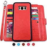 Galaxy S8 Plus Cases,Magnetic Detachable Lanyard Wallet Case with [8 Card Slots+1 Photo Window][Kickstand] for Galaxy S8 Plus-6.2 inch, CASEOWL 2 in 1 Premium Leather Removable TPU Case(Red)