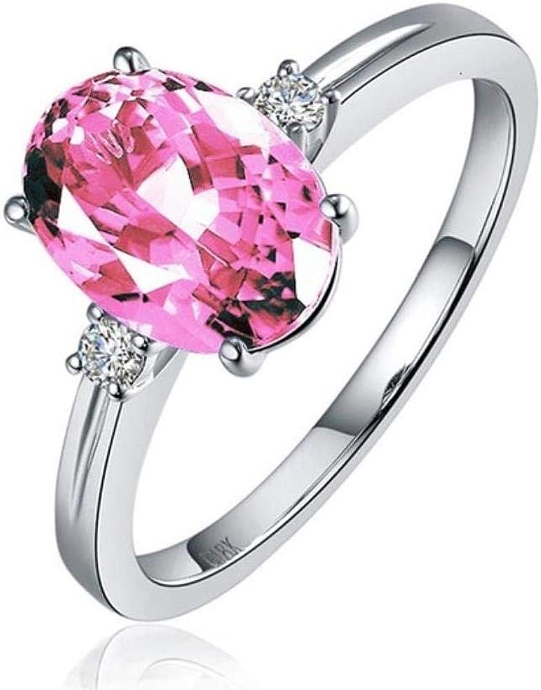 SHENGJIA - Anillo clásico de plata de zafiro 925 con piedras preciosas ovaladas, color verde, rosa y azul, tamaño ajustado, joyería de plata, regalo para mujer, tamaño ajustable, rosa