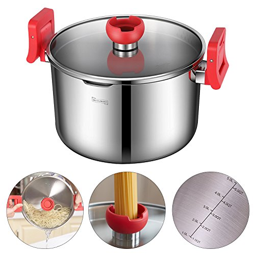 MICHELANGELO 5 Quart Pasta Pot Induction Ready, Stainless Steel Pasta Pot With Strainer Lid, Stainless Steel Dutch Oven Pot, 5 Quart Soup Pots with Lids ()