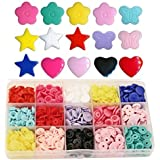 Shapes KAMsnaps 150 Sets Butterfly Star Heart Flower Size 20 (1/2 inch) Plastic KAM Snaps Button Fasteners Storage Container