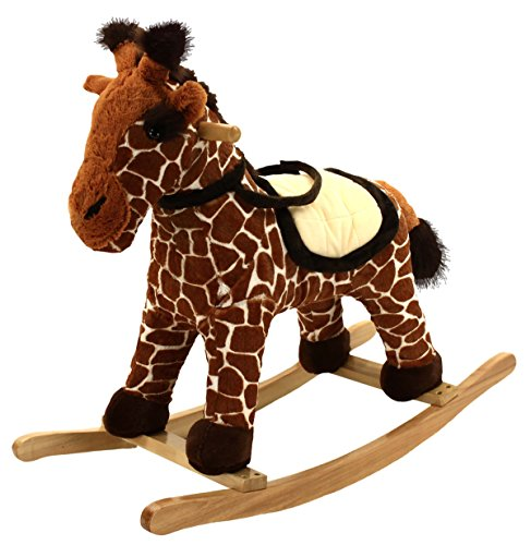 - Animal Adventure | Real Wood Ride-On Plush Rocker | Brown Giraffe | Perfect for Ages 3+