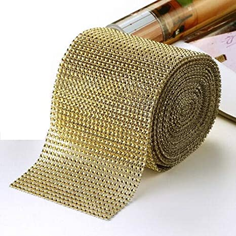 10×Diamond Mesh Rhinestone Crystal Ribbon Wrap Roll Ribbon Wedding Party Supply