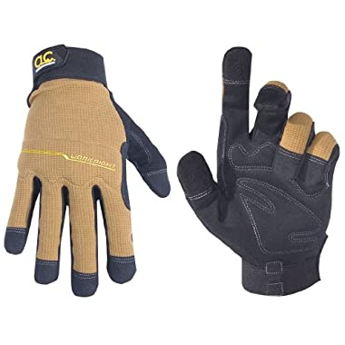 Custom Leathercraft 124M Workright Flex Grip Work Gloves, Medium