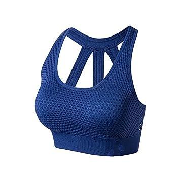 Jan&deloe Chaleco sujetador deportivo yoga ropa interior confortable gimnasio rápido ejercicio hermosa espalda. blue S