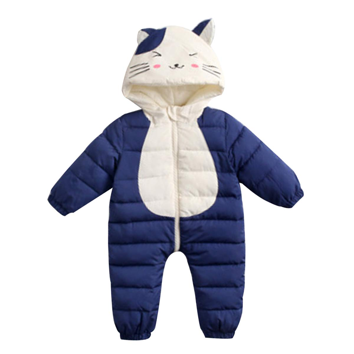 Famuka Baby Boys Girls Winter Snowsuit Cartoon Hooded Warm Outerwear Jumpsuit