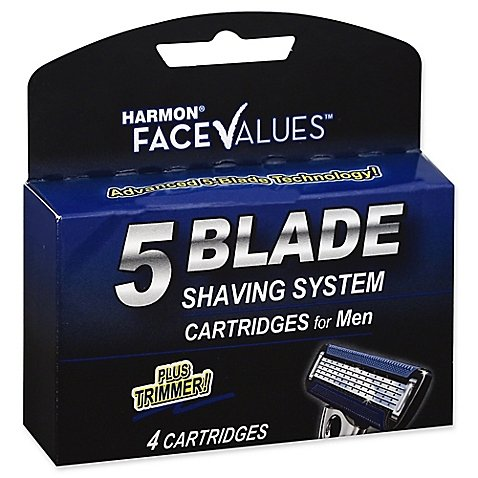 Harmon Face Values 4-Count 5-Blade Shaving System Cartridges plus Trimmer for Men