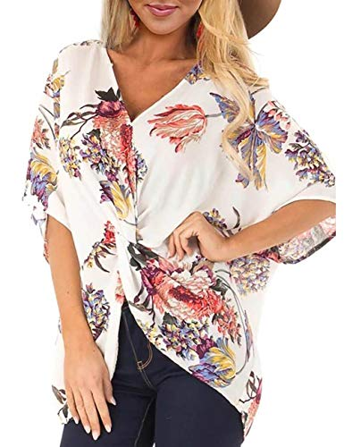 Women Casual Shirts Floral Print Tops Short Sleeve V Neck Loose Blouses with Twist M White ()