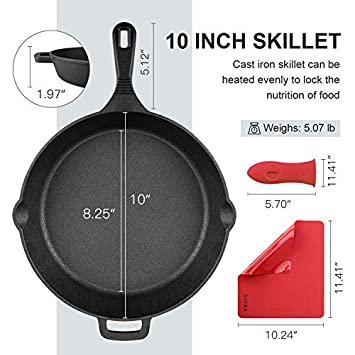 BAYKA Cast Iron Skillet Pre-seasoned 10 12 Cast Iron Pans with 2 Heat-Resistant Holders 2 Silicone Mats Oven Grill Stovetop Induction Safe Cookware Great for Sautes and Stir Fry